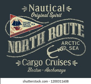 Northwest arctic ocean sailboat cargo cruise vector print for boy t shirt embroidery patch applique