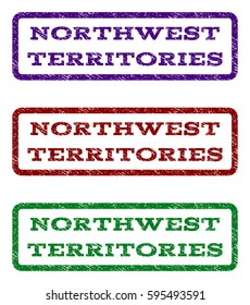 Northwest Territories watermark stamp. Text caption inside rounded rectangle frame with grunge design style. Vector variants are indigo blue, red, green ink colors.