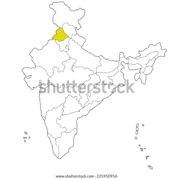 Northwestern State Punjab On Map India Stock Vector (Royalty