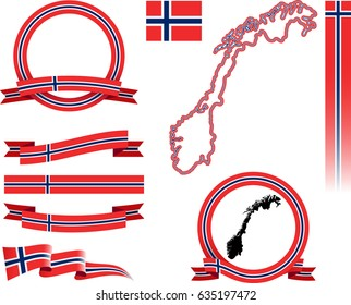 Norway Banner Set. Vector graphic flags, banners and ribbons of Norway.