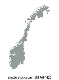 Norway blank map silhouette. High detailed editable gray map of Norway. European country borders vector illustration on white background