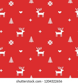 Norway Christmas Festive Sweater Fair isle Design. Seamless Jacquard  Vector Pattern.
