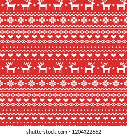 Norway Christmas Festive Sweater Fairisle Design. Seamless Jacquard  Vector Pattern.