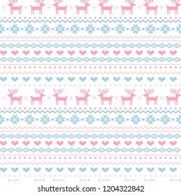 Norway Christmas Festive Sweater Fairisle Design. Seamless Jacquard  Vector Pattern.