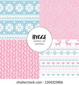 Norway Christmas Festive Sweater Fairisle Design. Seamless Jacquard  Vector Pattern set.