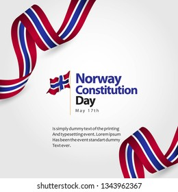 Norway Constitution Day Flag Vector Template Design Illustration