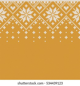 Norway Festive Sweater Fairisle Design. Gold Seamless Knitting Pattern