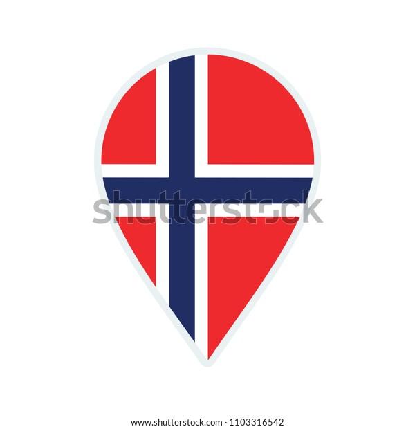 Norway flag icon. Travel icon. Travel destination of Norway. Norway badge. Flag badge.