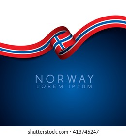 Norway Flag Ribbon : Vector Illustration