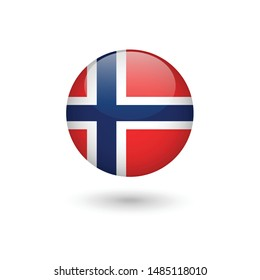 Norway flag - round glossy button, Vector image and icon