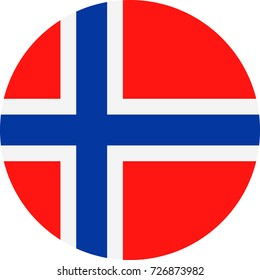 Norway Flag Vector Round Flat Icon - Illustration