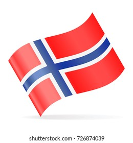 Norway Flag Vector Waving Icon - Illustration