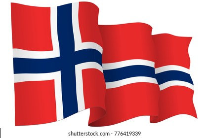 Norway flag waving isolated on white in vector format.