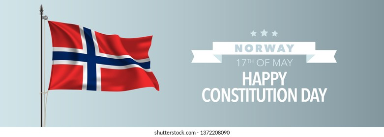 Norway happy constitution day greeting card, banner vector illustration. Norwegian national holiday 17th of May design element with waving flag on flagpole
