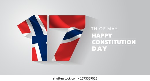 Norway happy constitution day greeting card, banner, vector illustration. Norwegian national day 17th of May background with elements of flag