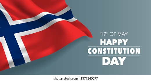 Norway happy constitution day greeting card, banner with template text vector illustration. Norwegian memorial holiday 17th of May design element with three stripes
