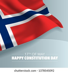 Norway happy constitution day greeting card, banner, vector illustration. Norwegian national day 17th of May background with elements of flag, square format