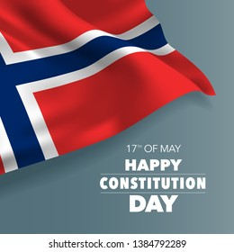 Norway happy constitution day greeting card, banner vector illustration. Norwegian holiday 17th of May design element with flag with curves