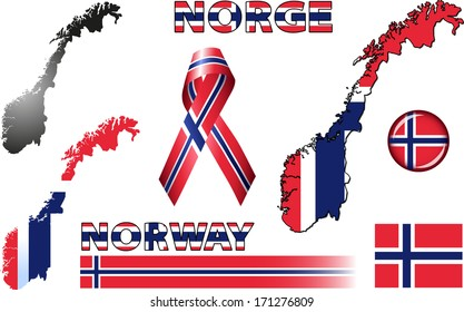 Norway Icons. Set of vector graphic images and symbols representing Norway. The text says 'Norway' in Norwegian.