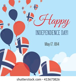 Norway Independence Day Greeting Card. Flying Flat Balloons In National Colors of Norway. Happy Independence Day Vector Illustration. Norwegian Flag Balloons.