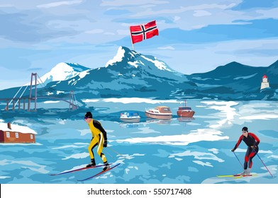 Norway landscape and leisure welcome card with skier, boats and flag