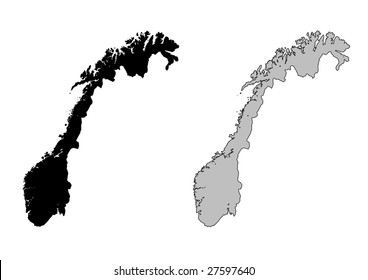 Norway map. Black and white. Mercator projection.