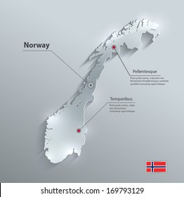 Norway map flag glass card paper 3D vector