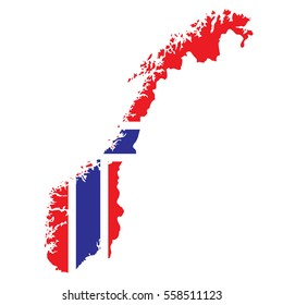 Norway Map with Flag Vector