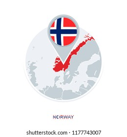 Norway map and flag, vector map icon with highlighted Norway
