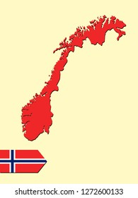 Norway map with national flag