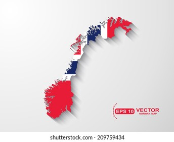 Norway map with shadow effect