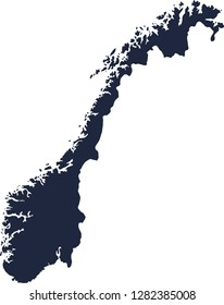 Norway map, a simple silhouette map of Norway