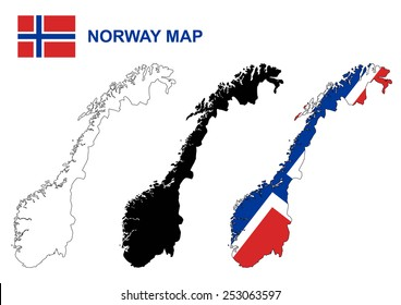 Norway map vector, Norway flag vector