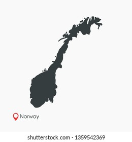 Norway Map Vector Template Isolated