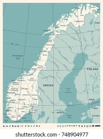 Norway Map - Vintage Detailed Vector Illustration