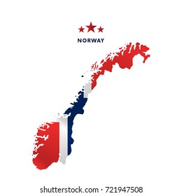 Norway map with waving flag. Vector illustration.