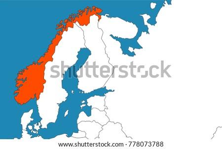 Norway On Europe Map.Norway On Europe Map Vector Illustration Stock Vector Royalty Free