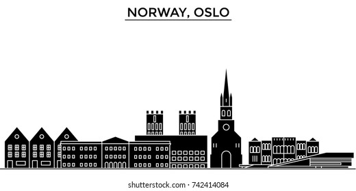 Norway, Oslo architecture vector city skyline, travel cityscape with landmarks, buildings, isolated sights on background