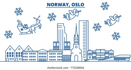 Norway, Oslo winter city skyline. Merry Christmas, Happy New Year decorated banner with Santa Claus.Winter greeting line card.Flat, outline vector.Linear christmas snow illustration