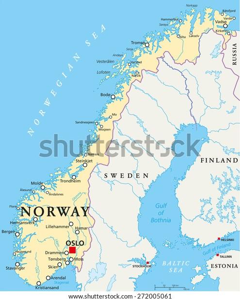 Norge Politisk Kort Med Hovedstaden Oslo Lagervektor Royaltyfri