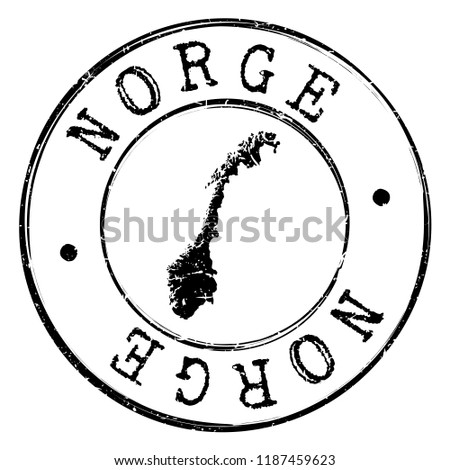 Norway Silhouette Postal Passport Stamp Round Vector Icon