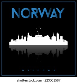 Norway, skyline silhouette vector design on parliament blue and black background.