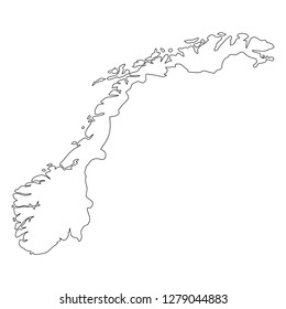 Norway - solid black outline border map of country area. Simple flat vector illustration.