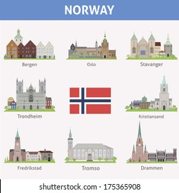 Norway. Symbols of cities. Vector set