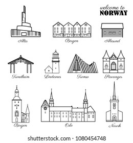 Norway travel cartoon vector norwegian landmark Bryggen, Lindesnes Lighthouse, Narvik Stavanger Arctic Cathedral, Akershus Fortress, Cathedral of Northern Lights, Trondheim Old Bridge, Sunnmore Museum