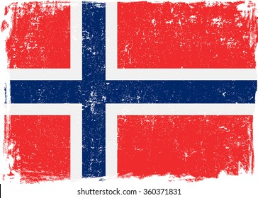 Norway vector grunge flag isolated on white background.