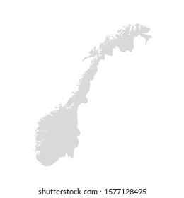 Norway vector map contour country, norwegian map illustration icon.