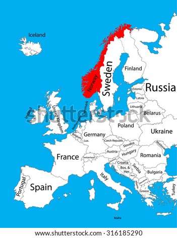 Norway On Map Of Europe.Norway Vector Map Europe Vector Map Stock Vector Royalty Free