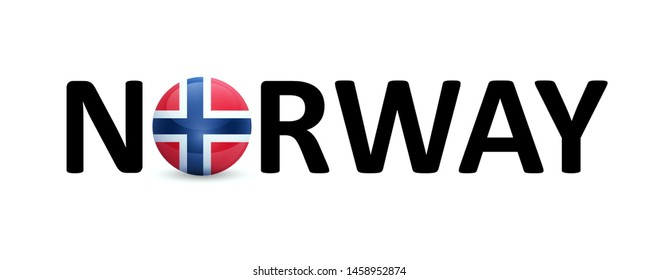 Norway - vector sign with a round flag in the text. The emblem for the lessons of the Norwegian language, travel agency or political news in magazines.
