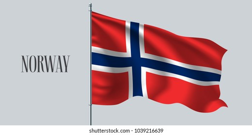 Norway waving flag on flagpole vector illustration. Red blue   element of Norwegian wavy realistic flag as a symbol of country